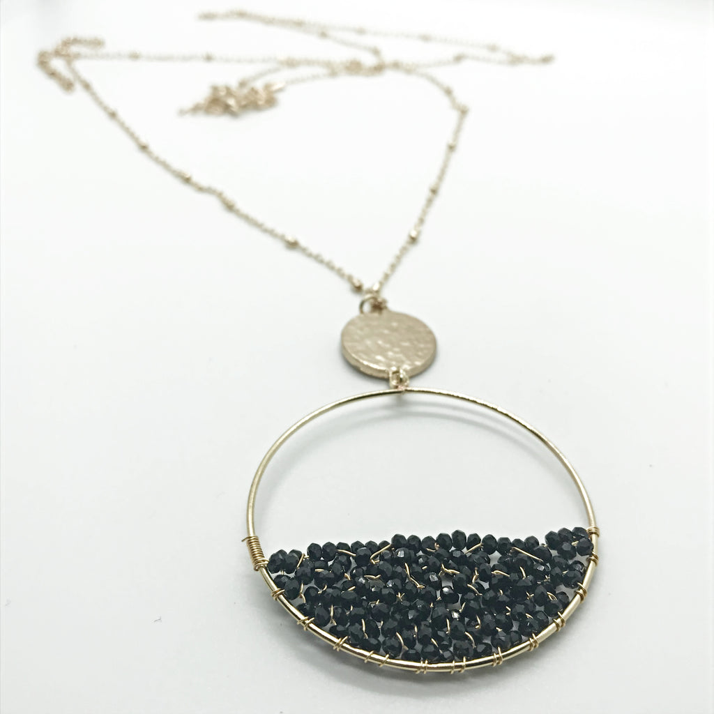 Beaded Circle Pendant Necklace-Black