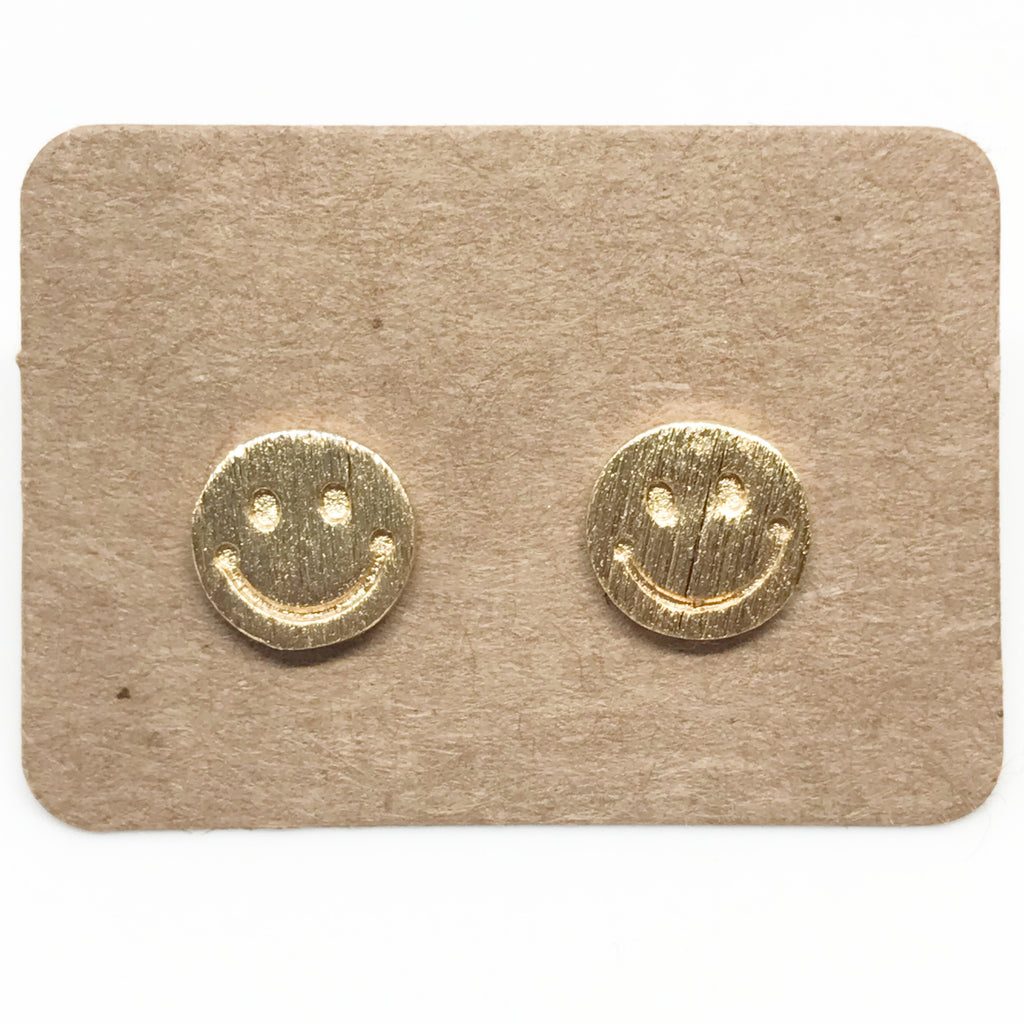 Smiley Face Earring-Gold
