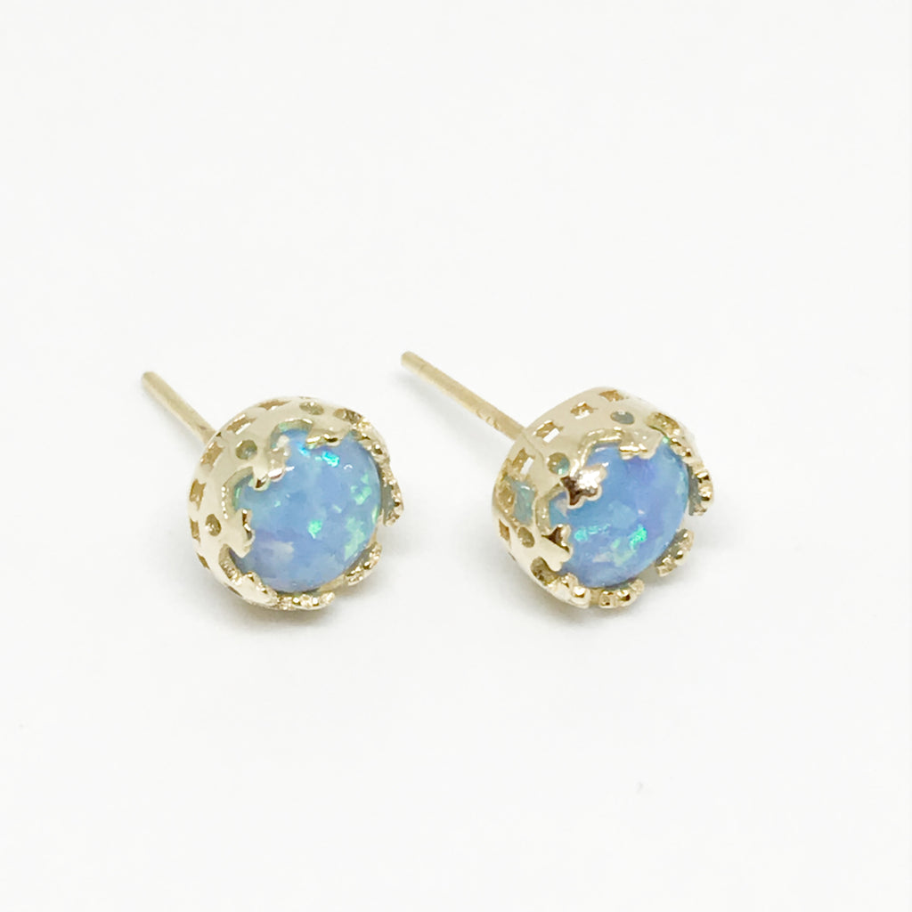 Sterling Silver Opal Princess Crowns- Gold