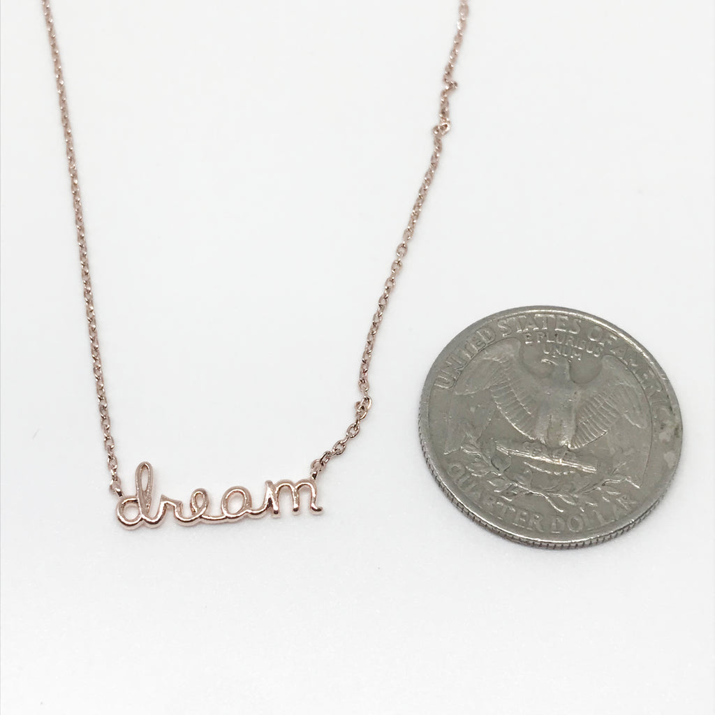 DREAM Script Necklace-Rose Gold