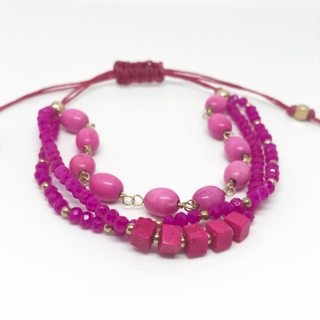 Layered Pink Beaded Bracelet