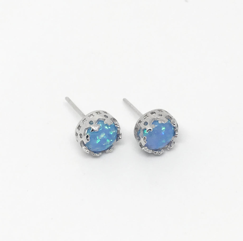 Sterling Silver Opal Princess Crowns-Silver
