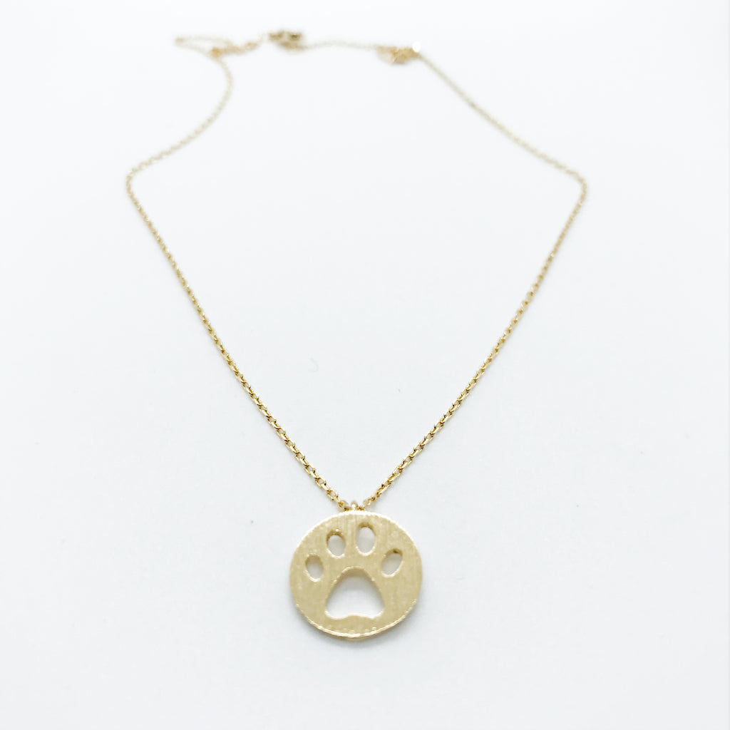 Paw Print Necklace-Gold