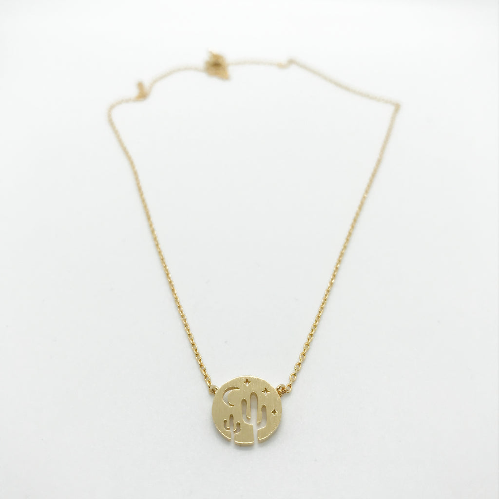 Desert Landscape Necklace-Gold