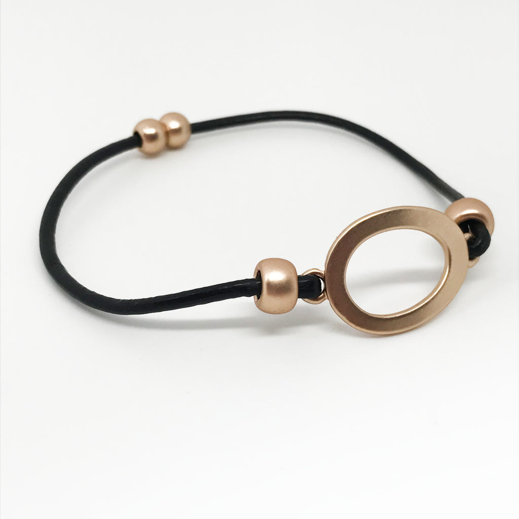 Leather Cord Bracelet-Black