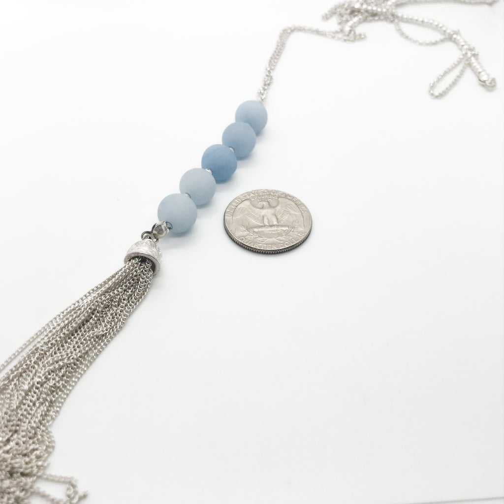 Blue Beaded Silver Chain Necklace