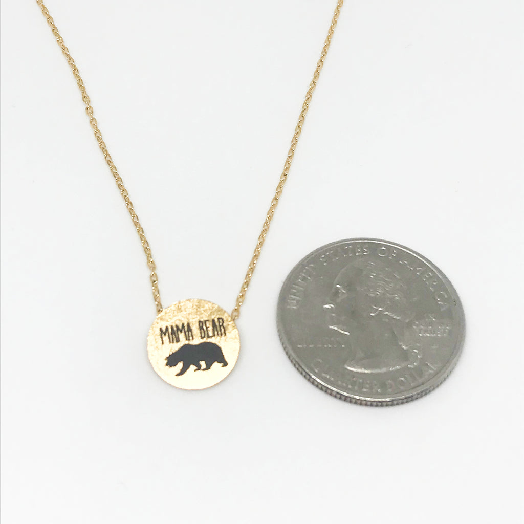 """Mama Bear"" Necklace- Gold"