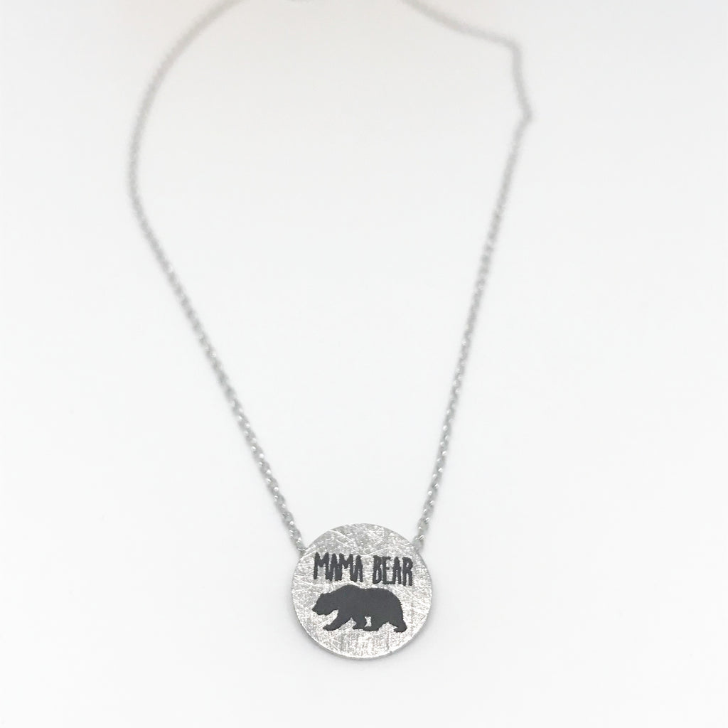 """Mama Bear"" Necklace- Silver"
