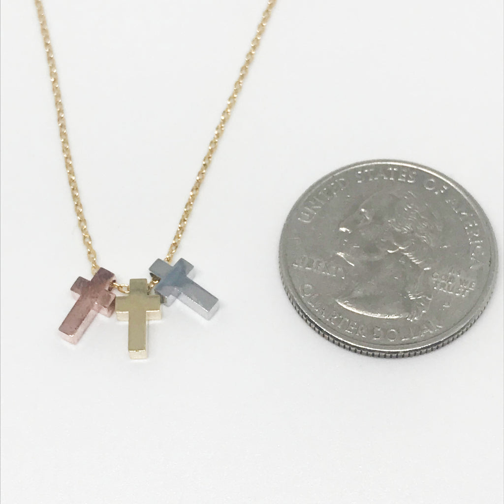 Tri Metal Cross Necklace