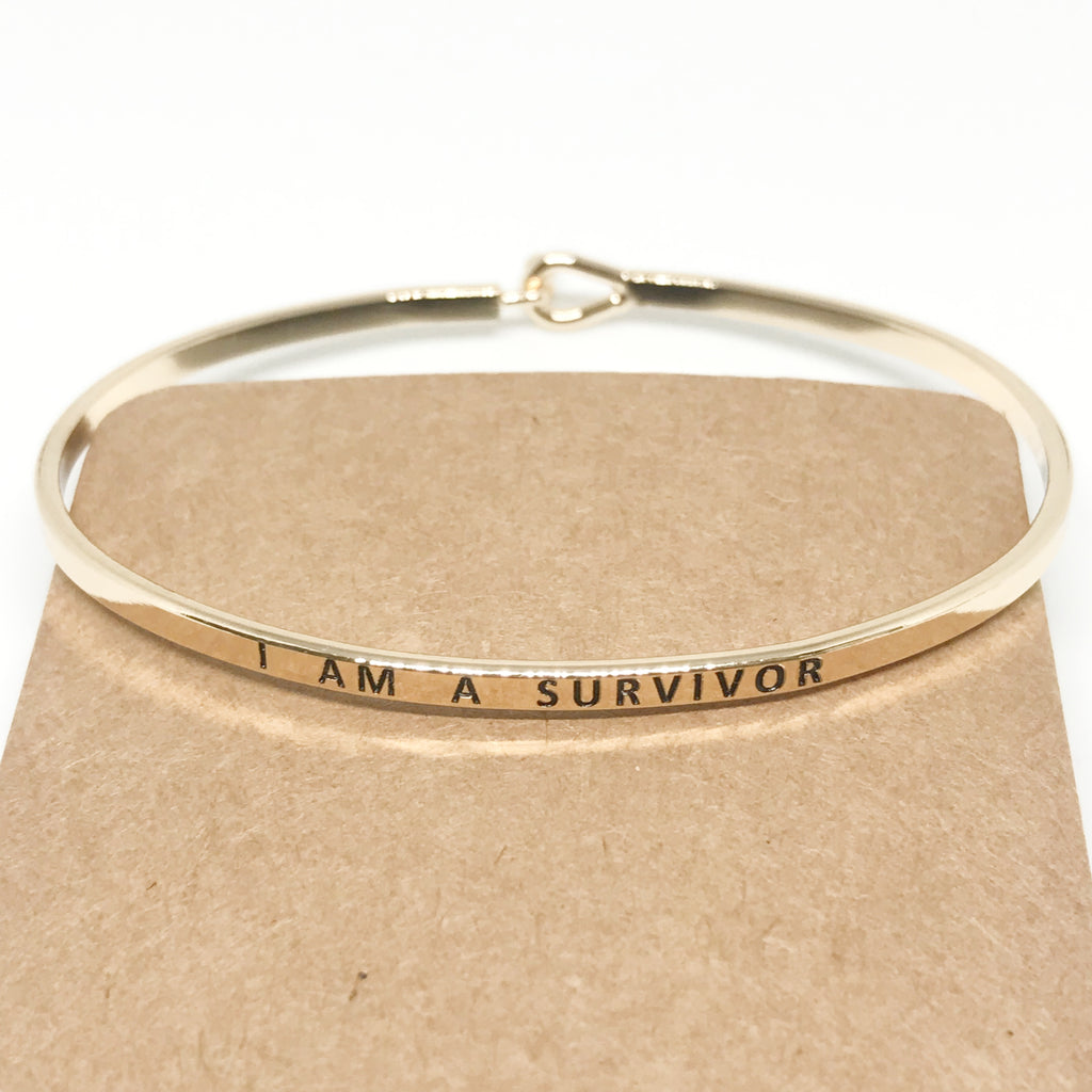 """I AM A SURVIVOR"" Message Bracelet-Gold"