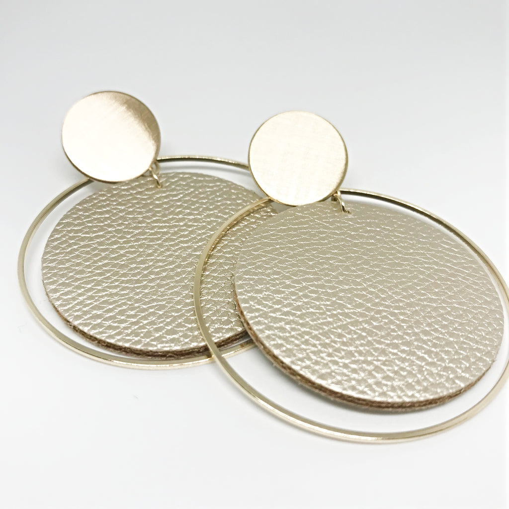 Dangling Leather Disc Earring-Gold