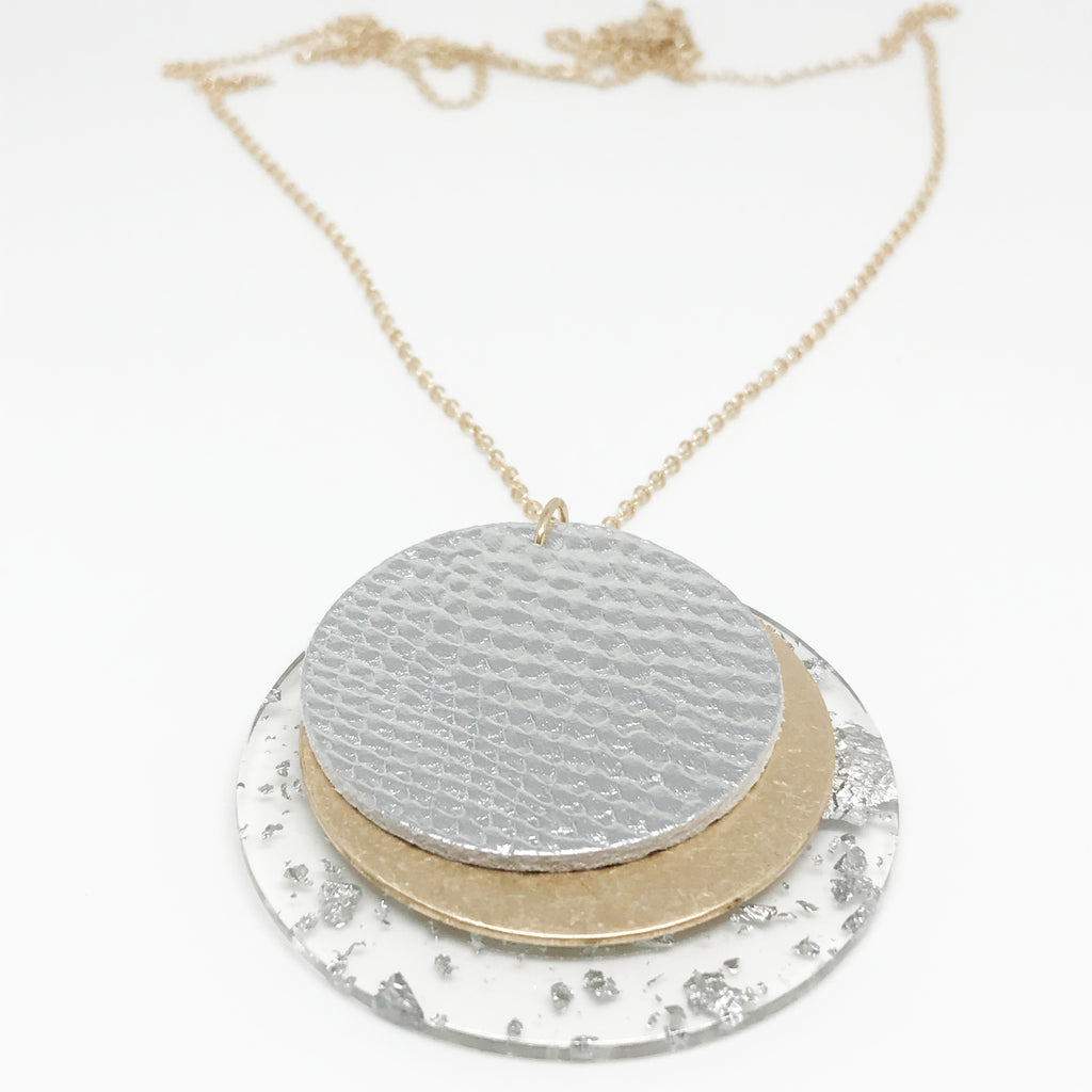 Multi Textured Disc Necklace-Silver
