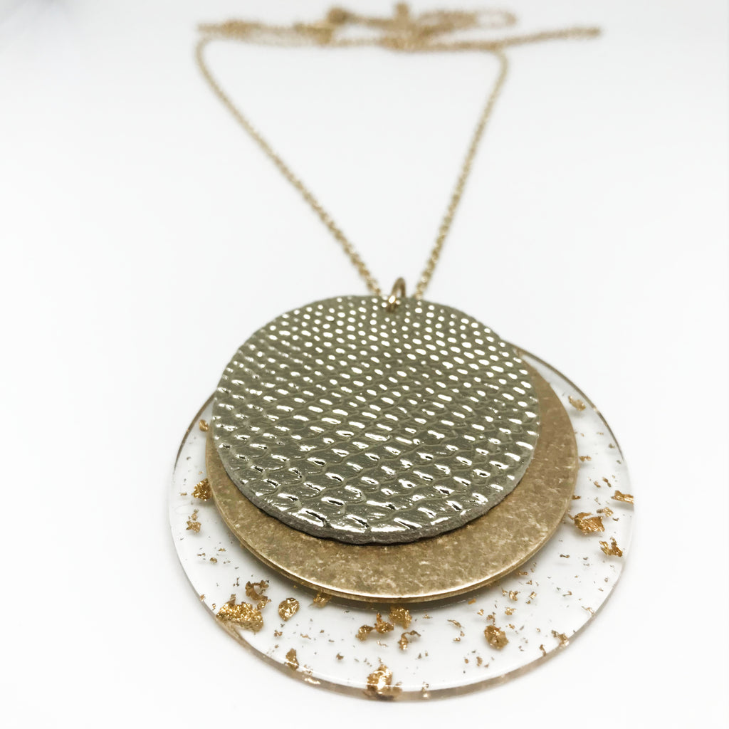 Multi Textured Disc Necklace-Gold