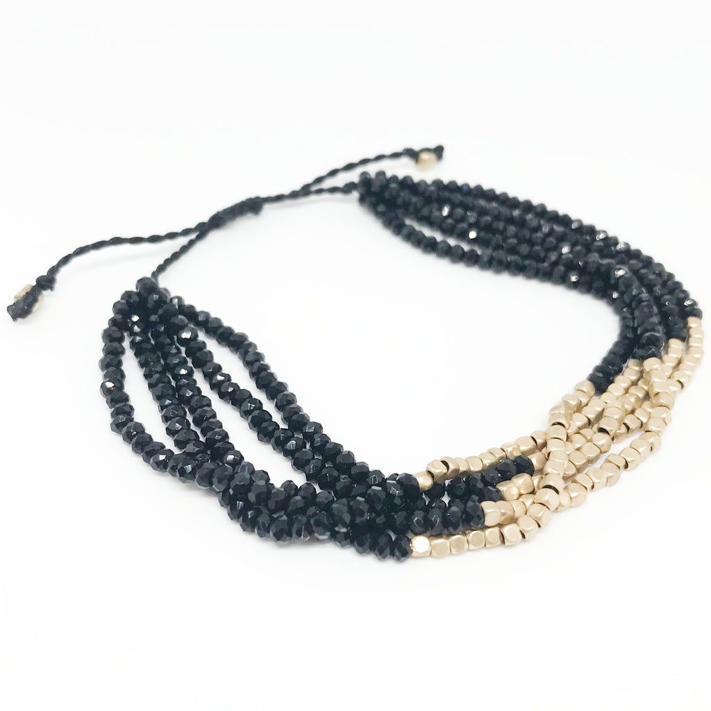 Multi Layered Beaded Bracelet-Black