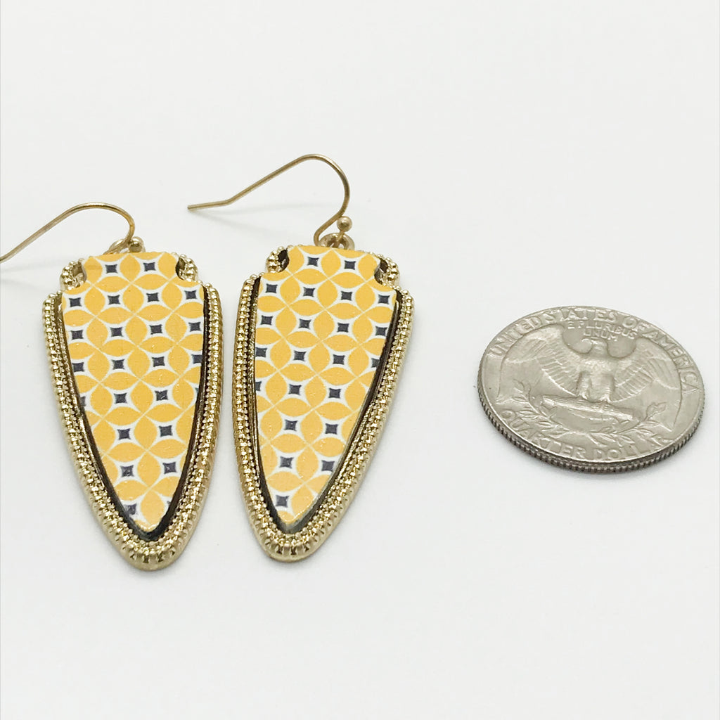 Patterned Wood Earring-Yellow