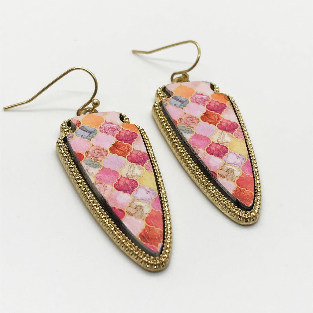 Patterned Wood Earring-Pink