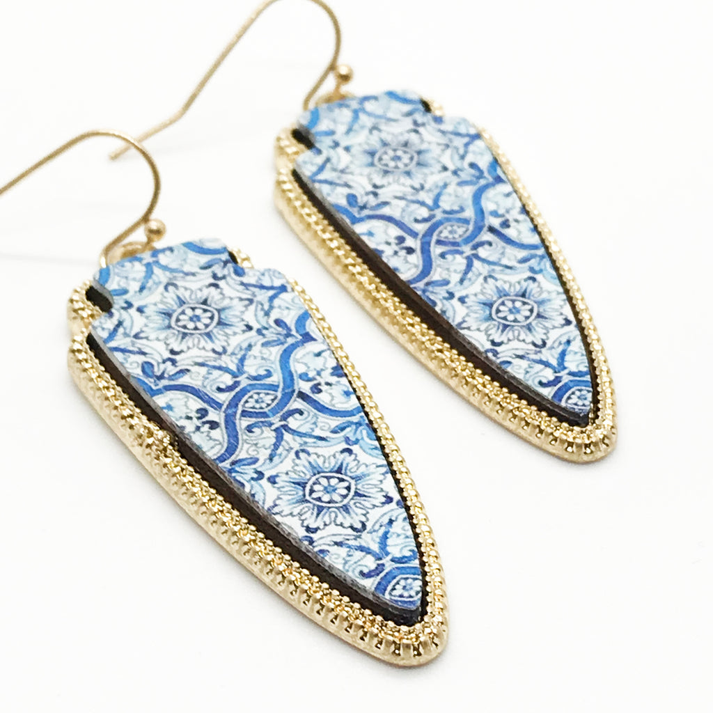 Patterned Wood Earring-Blue