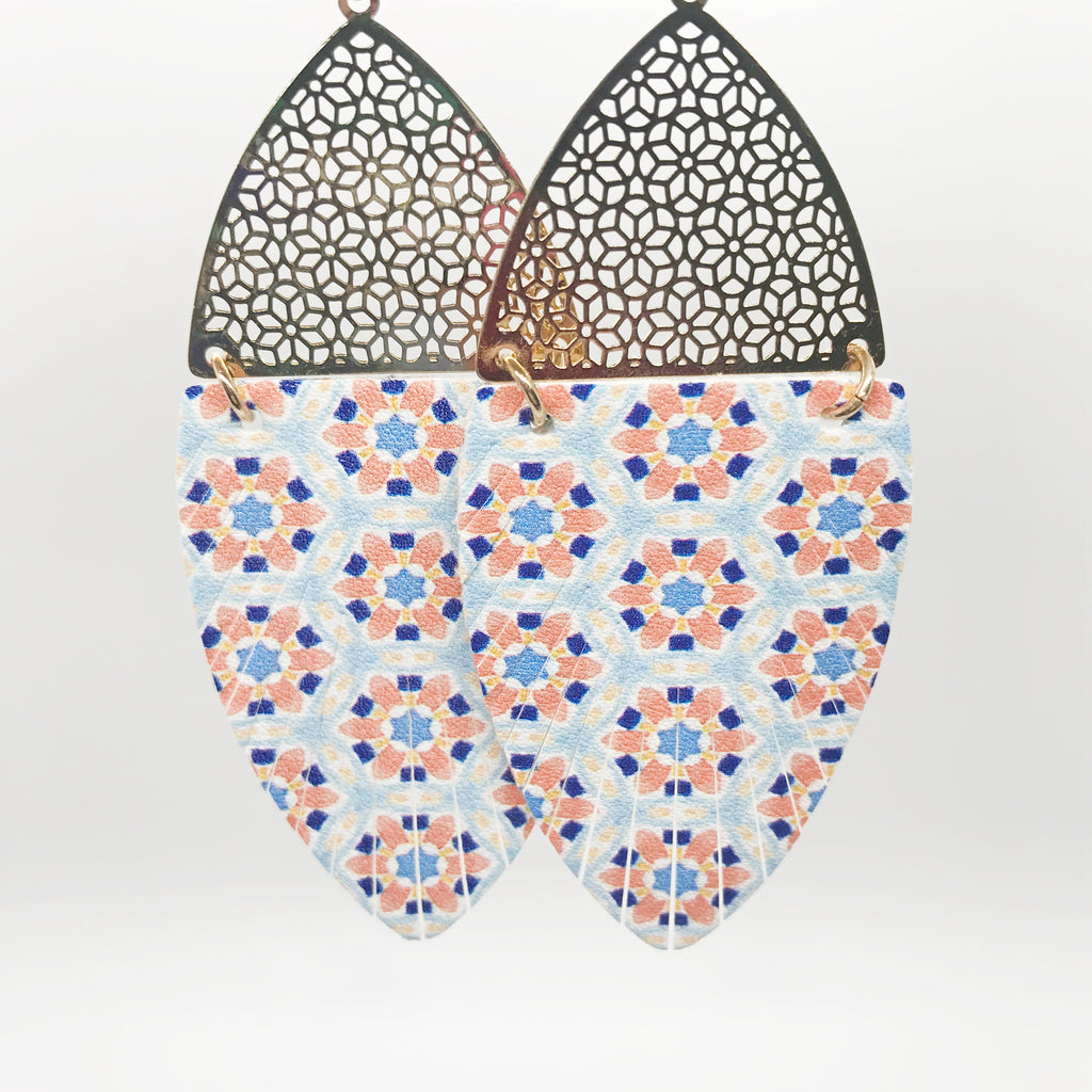 Moroccan Tile Print Earrings