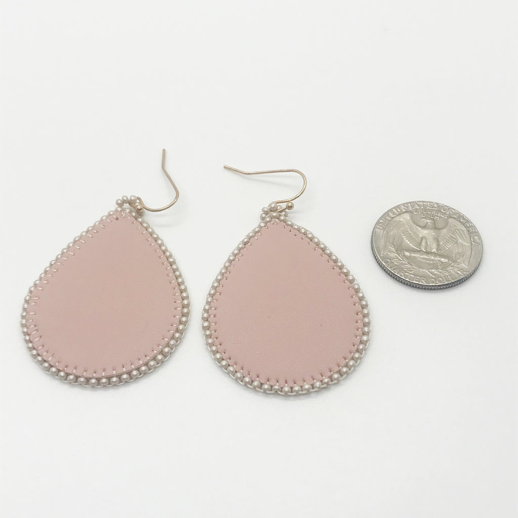 Leather Beaded Tear Drop Earring-Pink