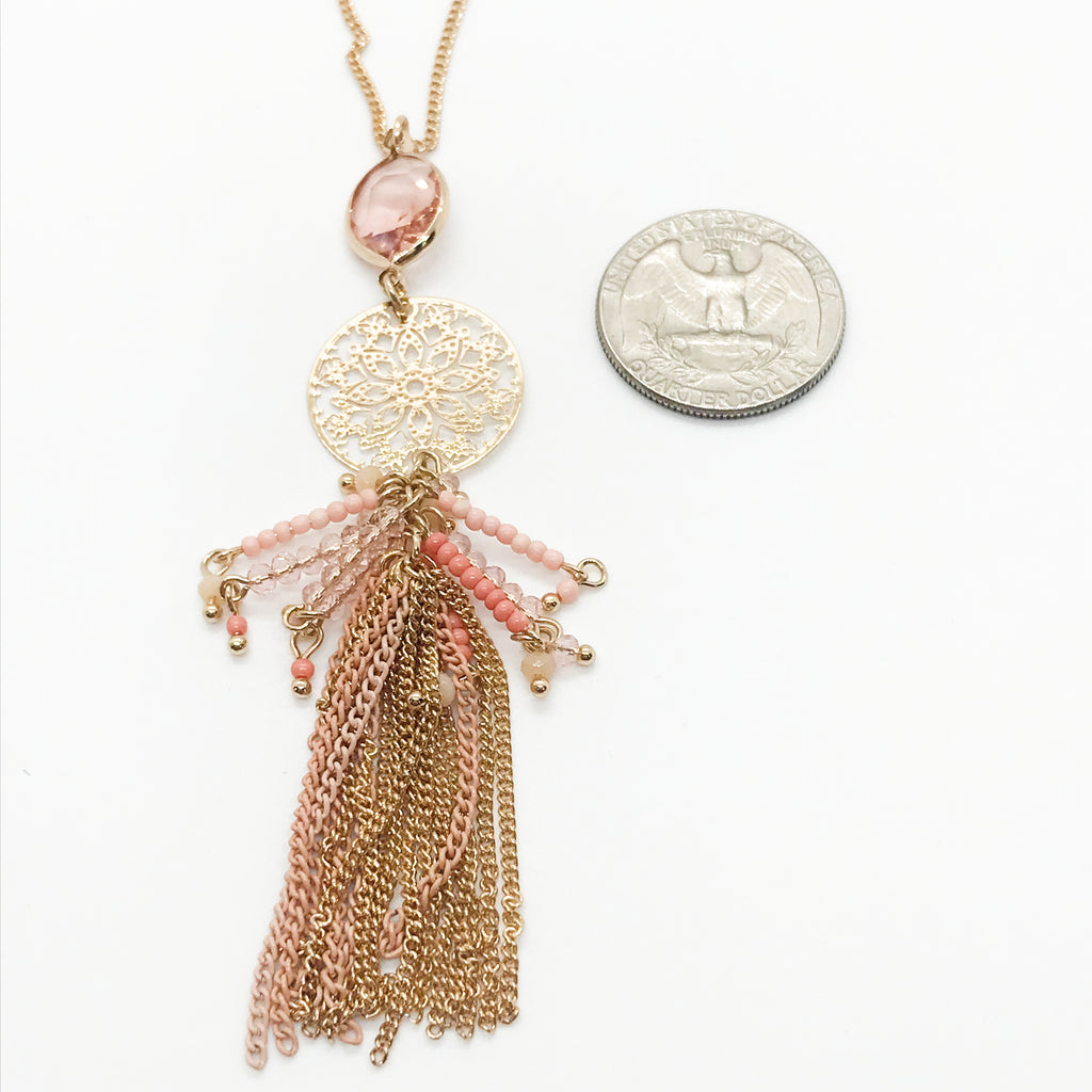 Beaded Pendant/Stone Necklace- Rose