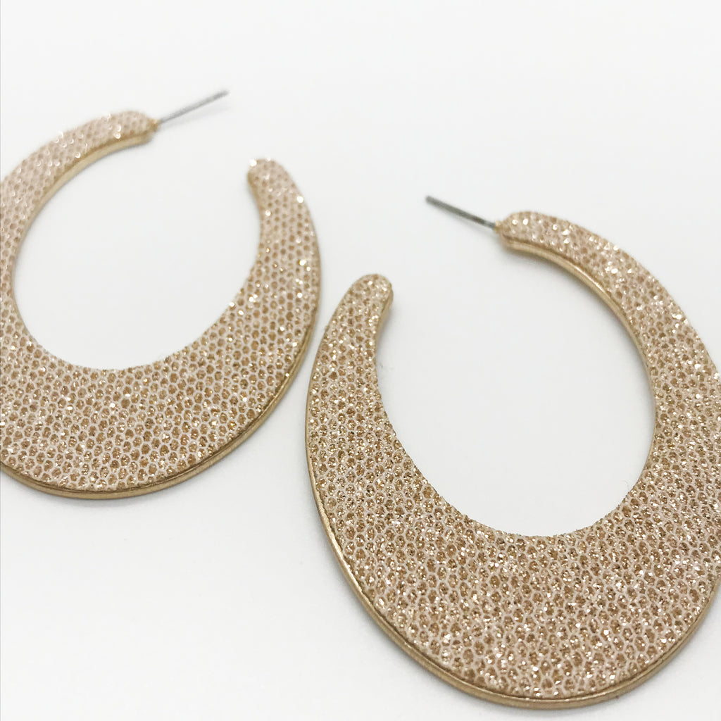 Glitter Embellished Hoop Earrings