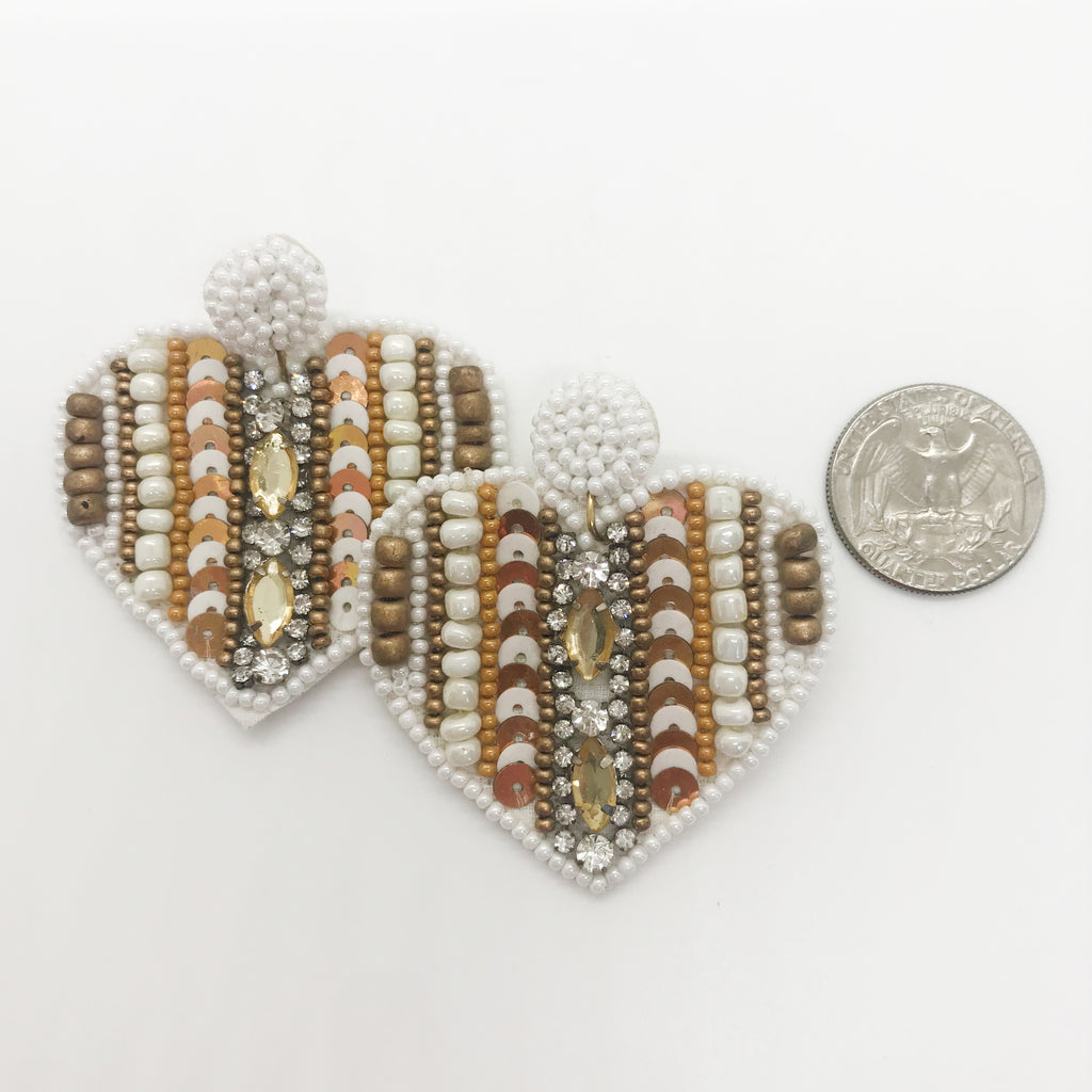 Heart Shaped Sequined Earrings