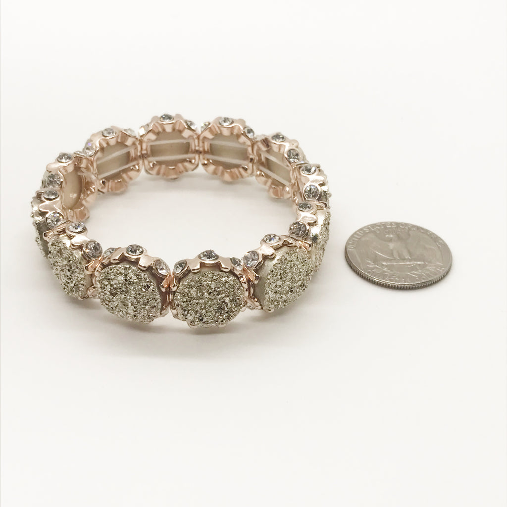 Druzy and Rhinestone Bracelet-Rose Gold