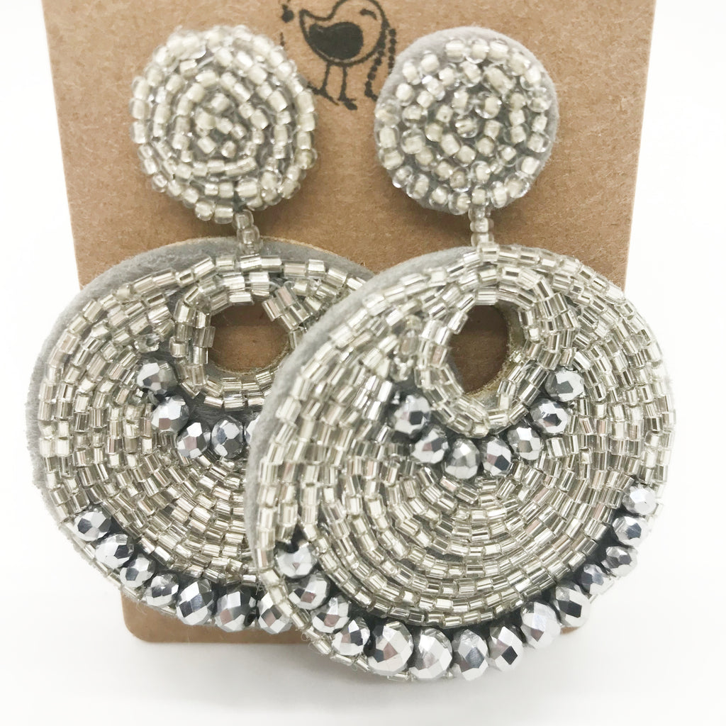 Glass Beaded Disc Earrings-Silver