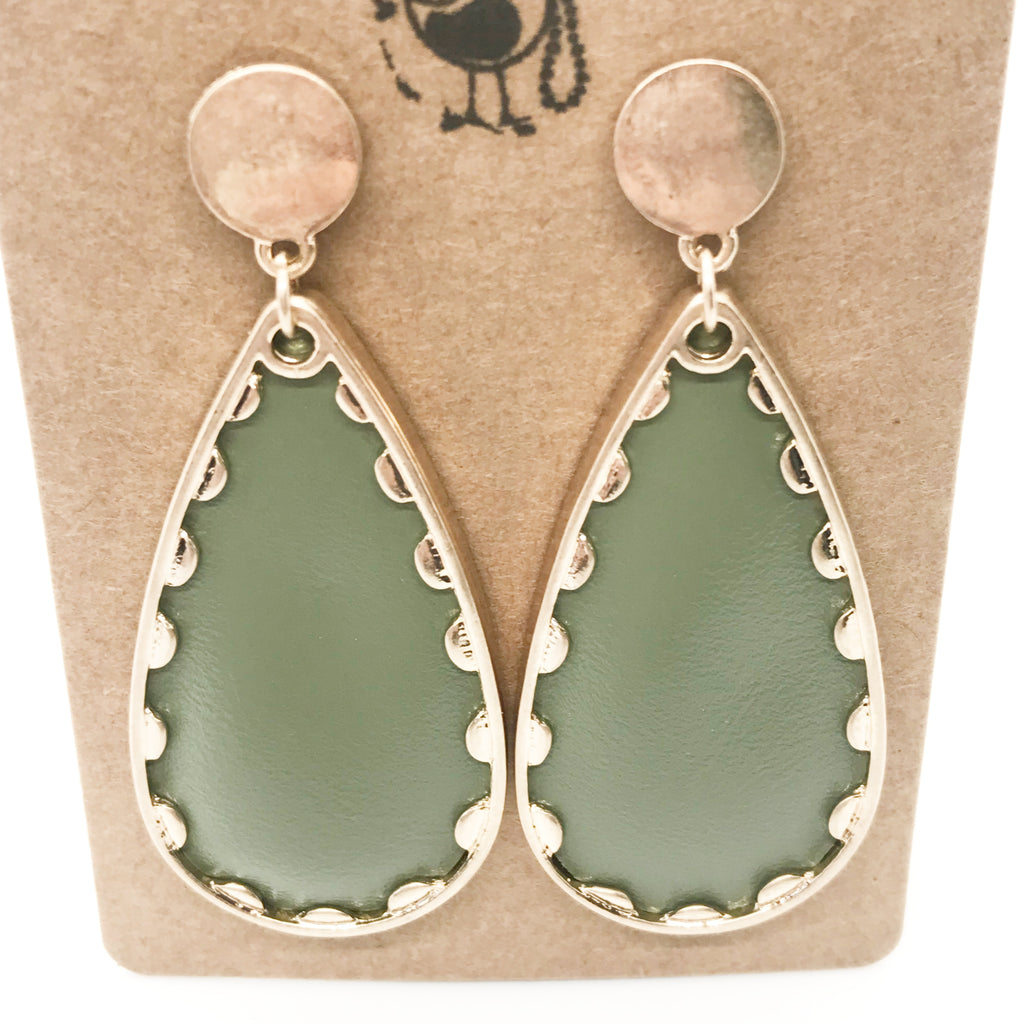 Avocado Faux Leather Tear Drop Earrings