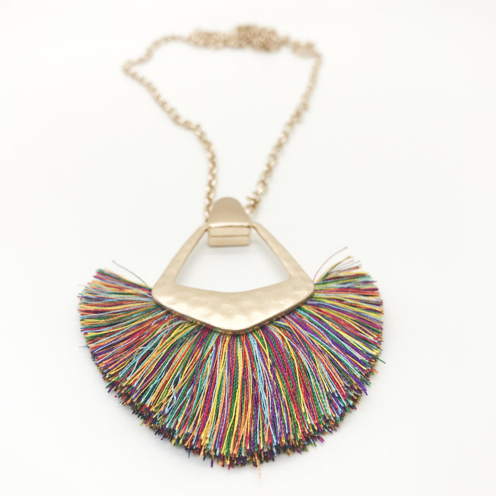 Large Tassel Necklace-Multi Color