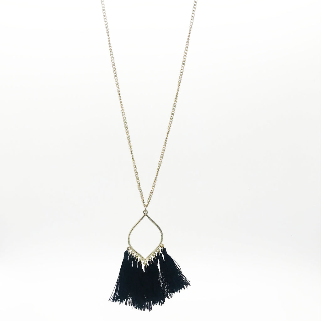 Oval Pendant with Tassel- Black