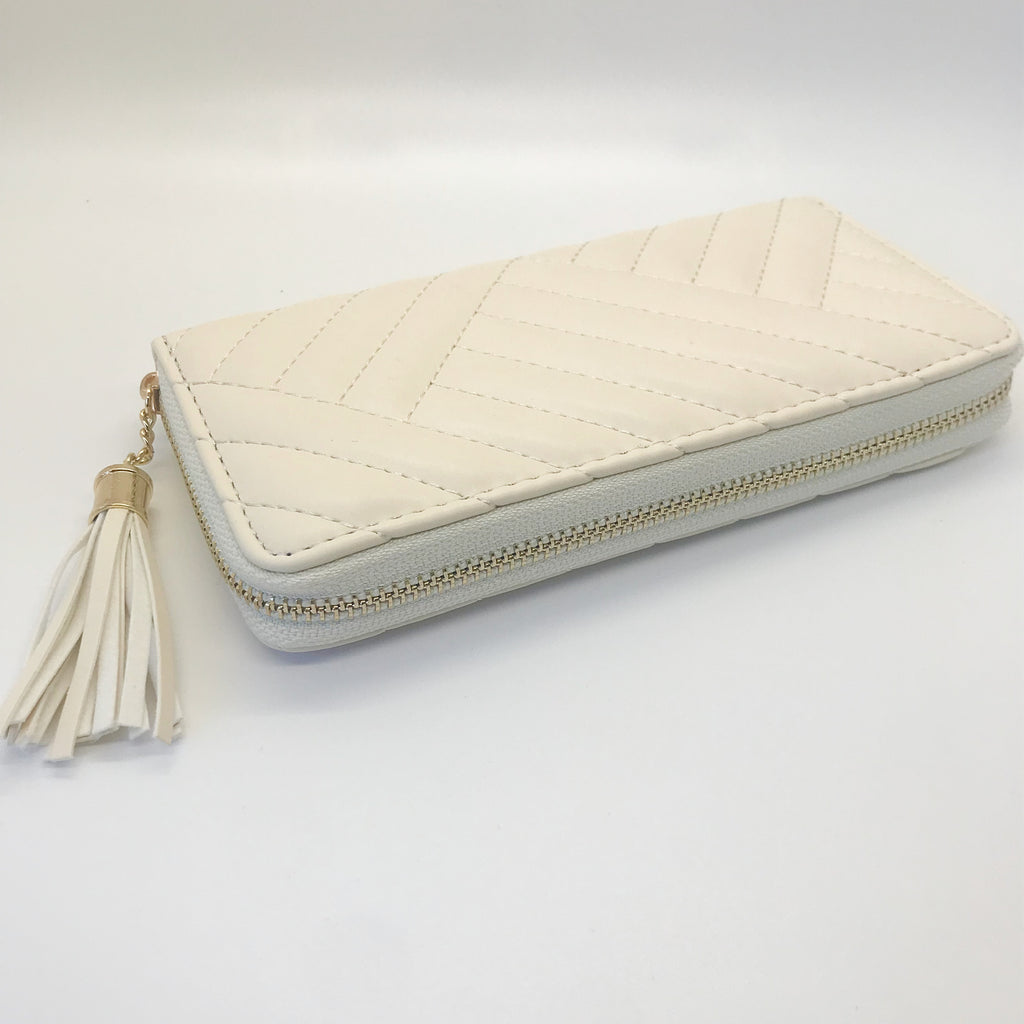 Soft Stitched Wallet with Tassel- Ivory