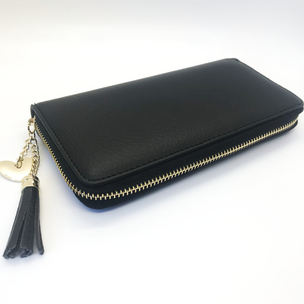 Solid Wallet with Tassel- Black