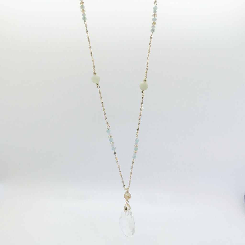 Crystal Drop Pendant Necklace-Gold