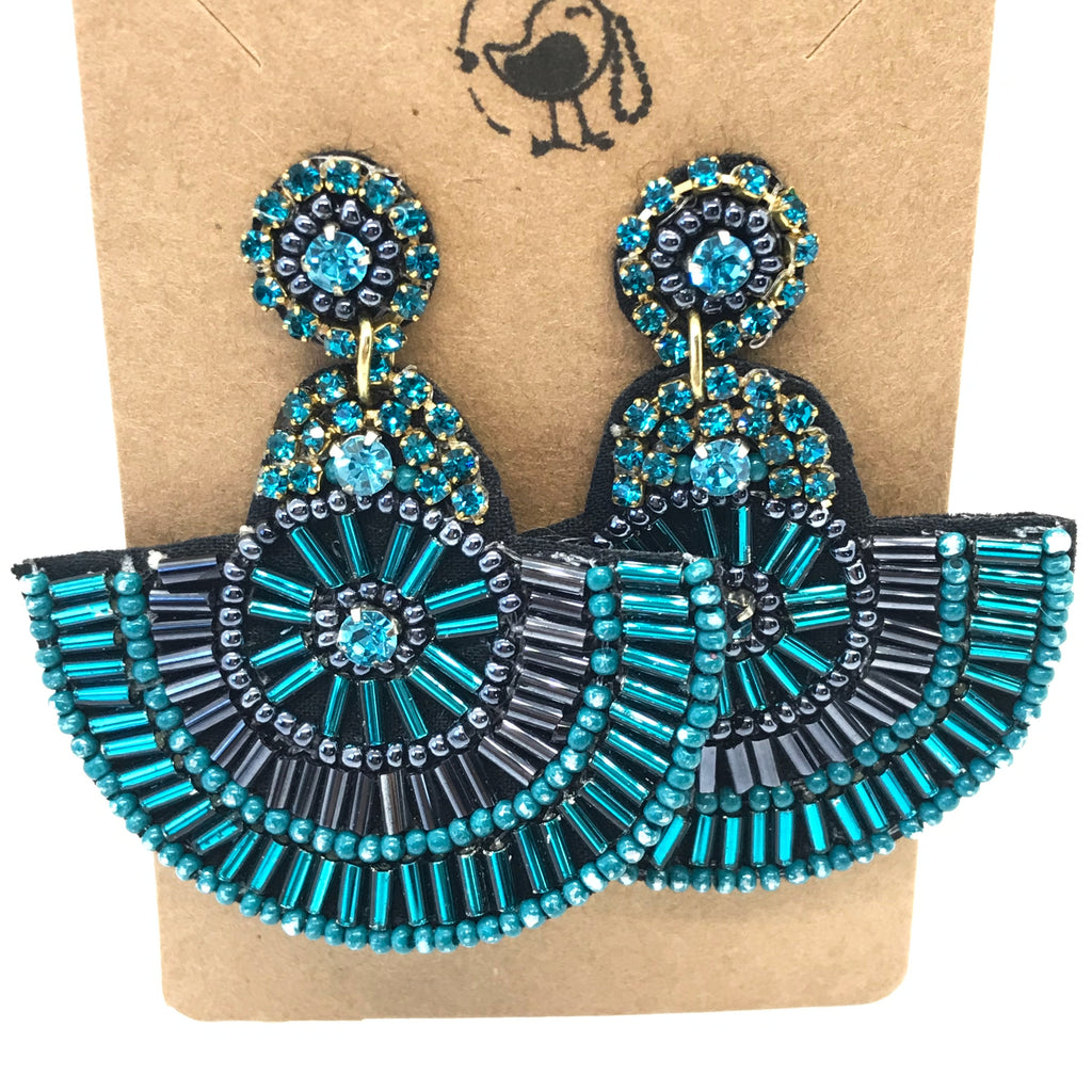 Teal Beaded Fan Earrings