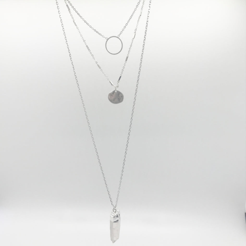 Triple Layer Pendant Necklace- Silver