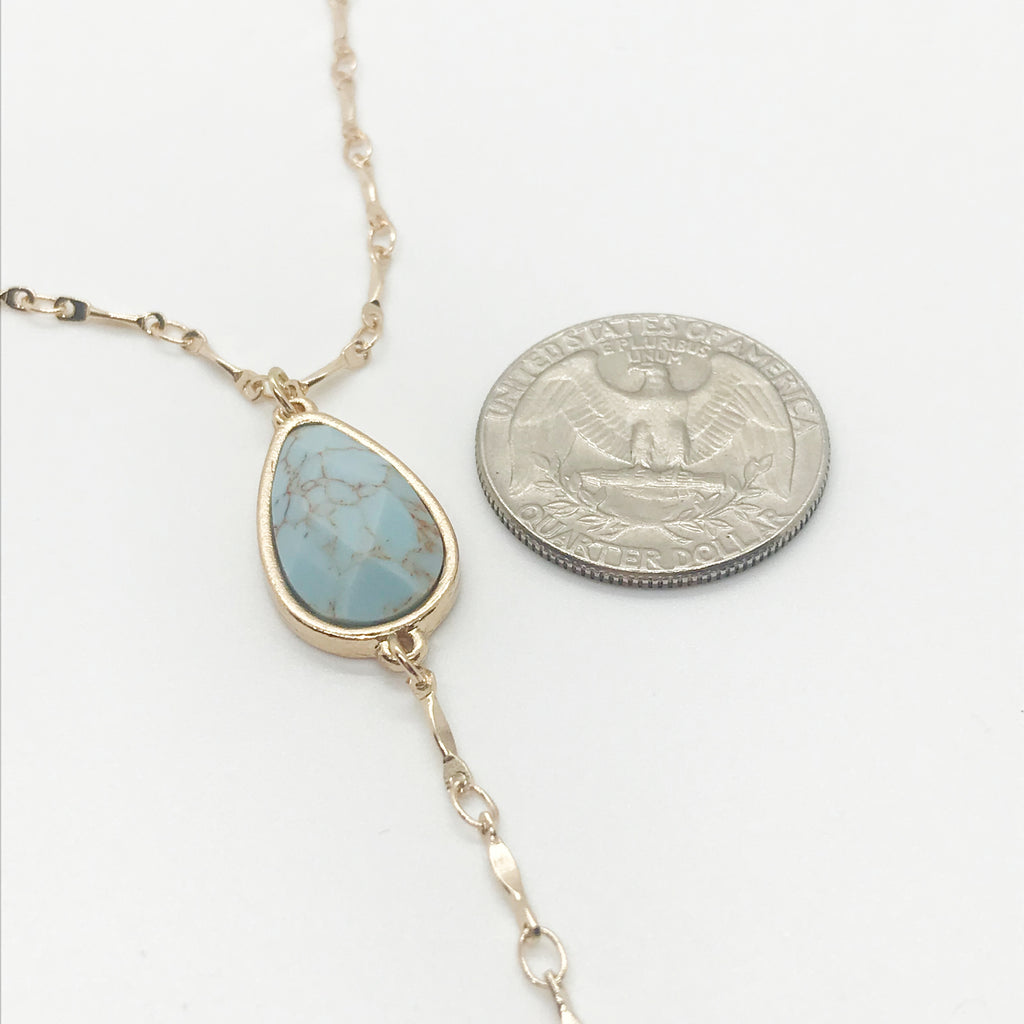 Marble Stone Drop Necklace-Turquoise/Brown