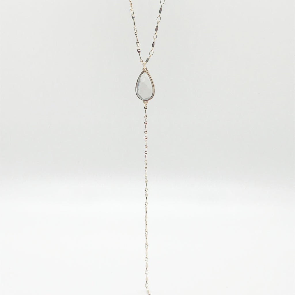 Marble Stone Drop Necklace- White/Gray
