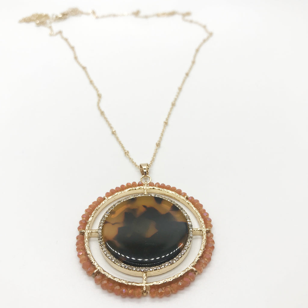 Tortoise Beaded Pendant Necklace