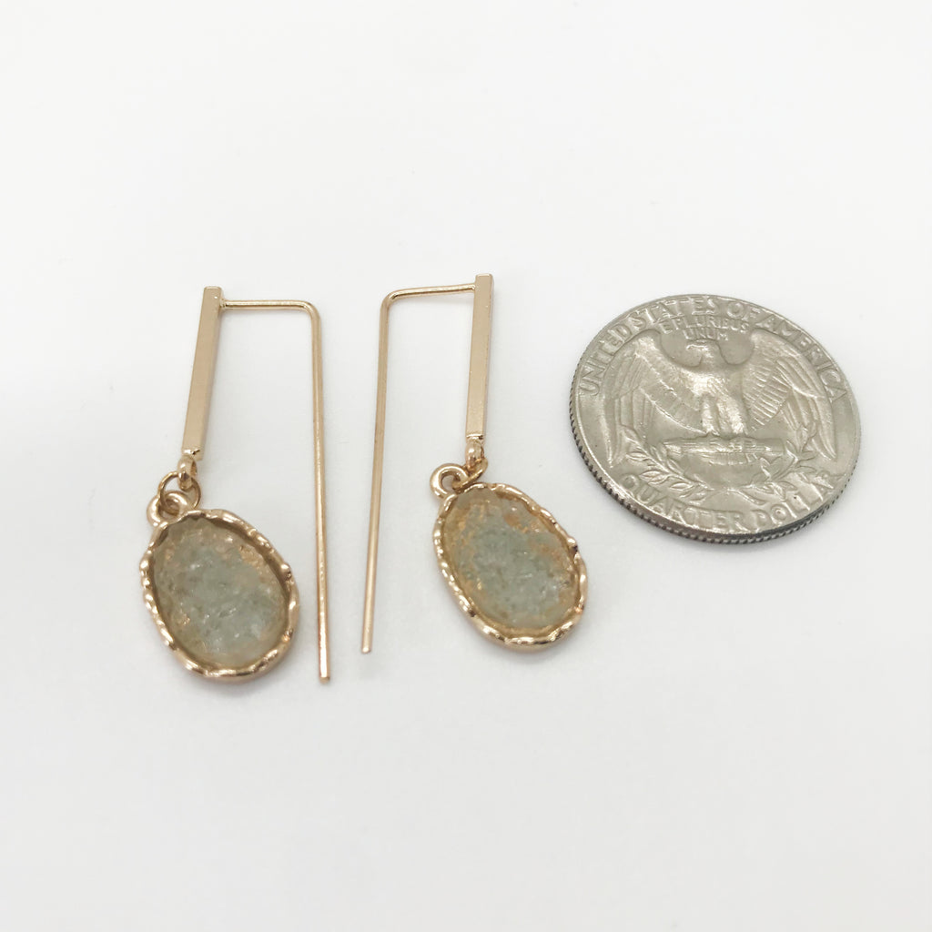 Gold Bar Druzy Drops