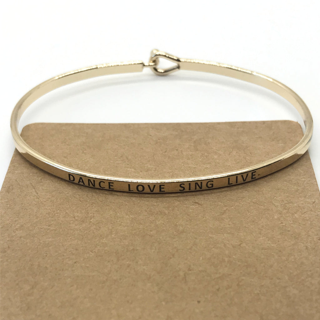 """DANCE LOVE SING LIVE"" Message Bracelet-Gold"