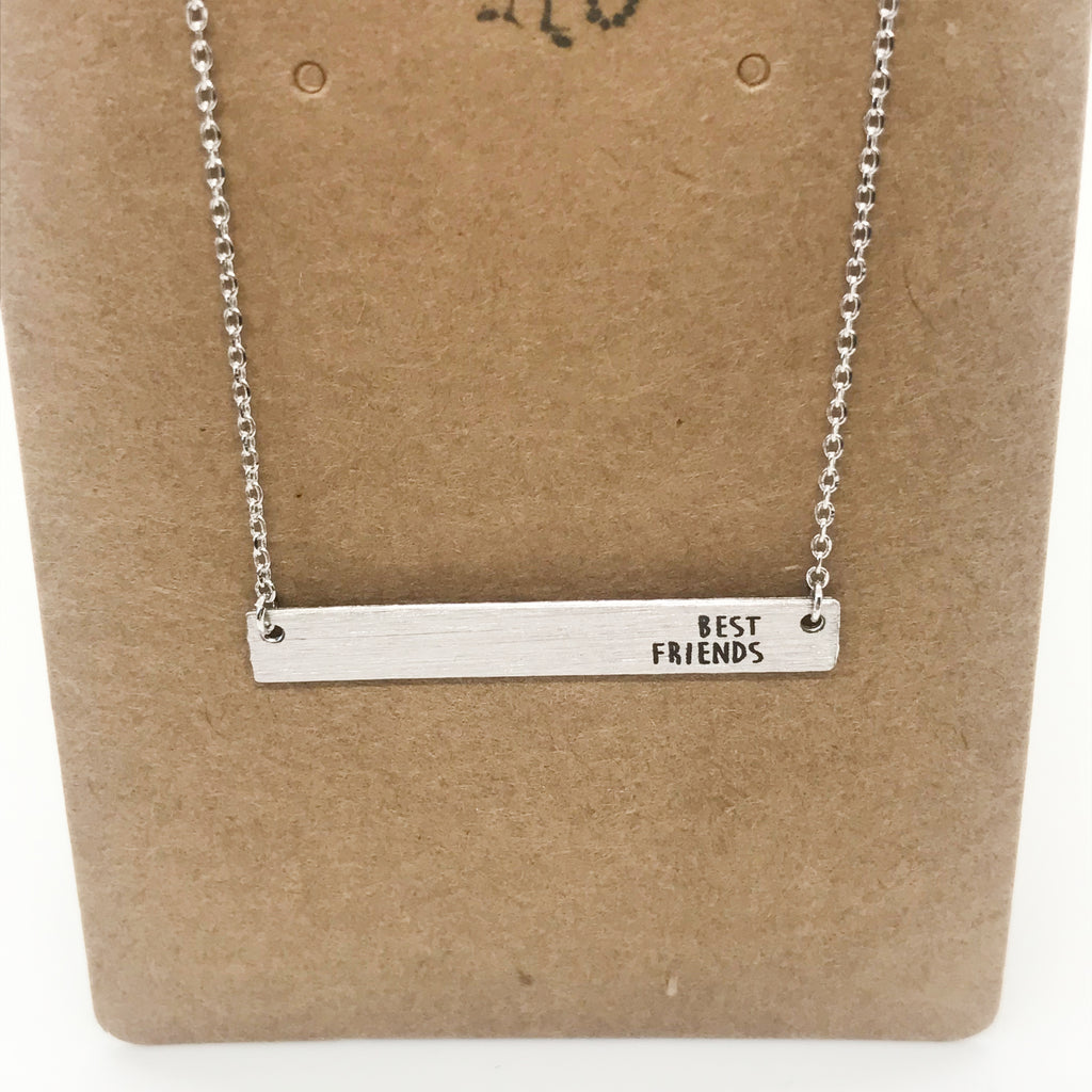 """BEST FRIENDS"" Bar Necklace-Silver"