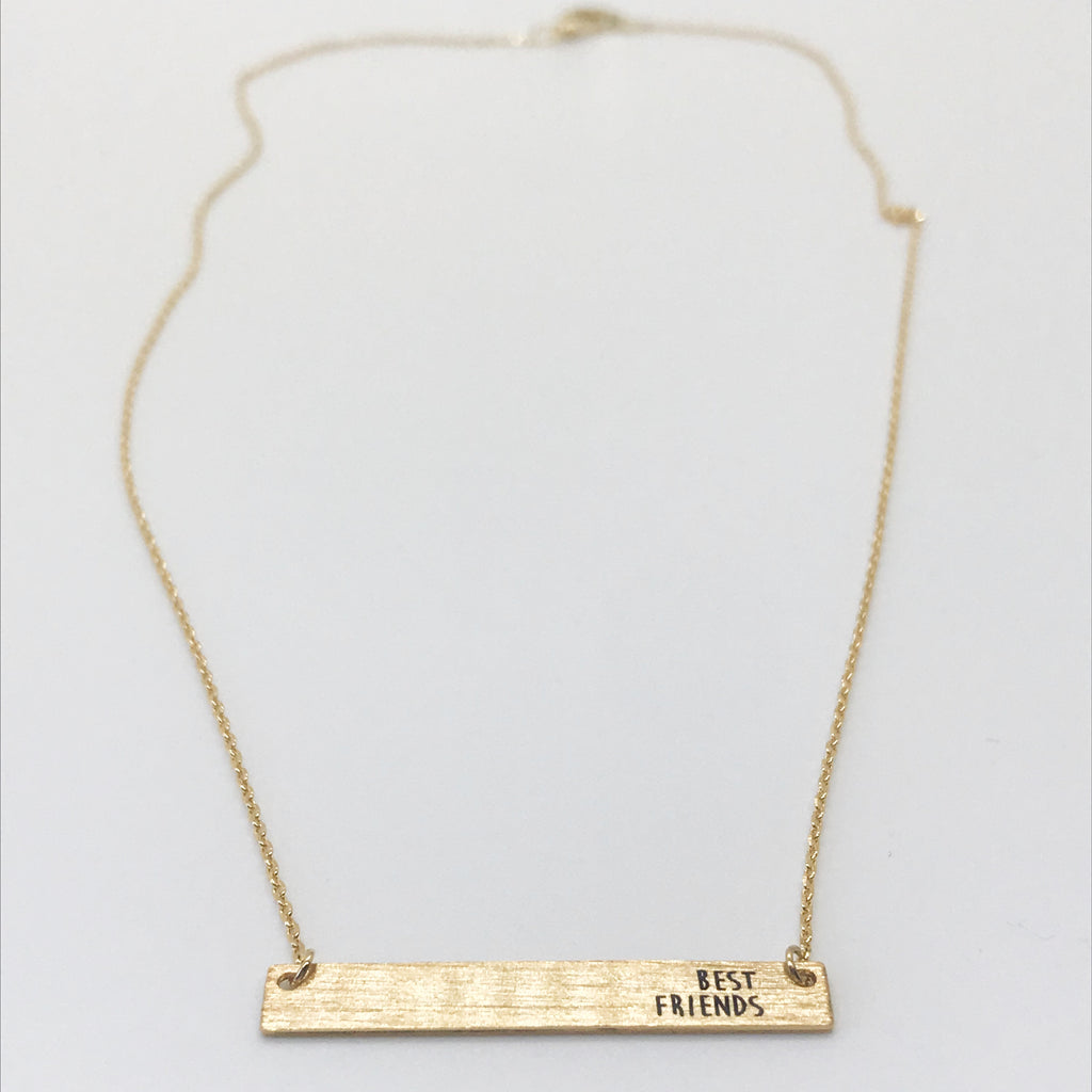 """BEST FRIENDS"" Bar Necklace-Gold"