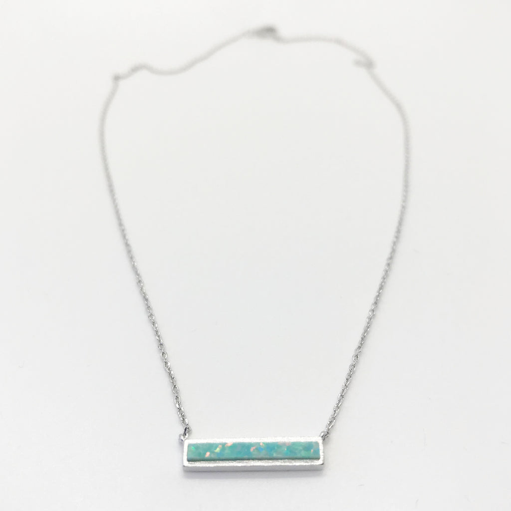 Opal Bar Necklace- Silver