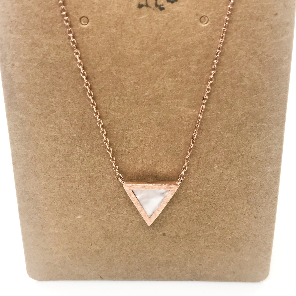 Pearly Triangle- Rose Gold