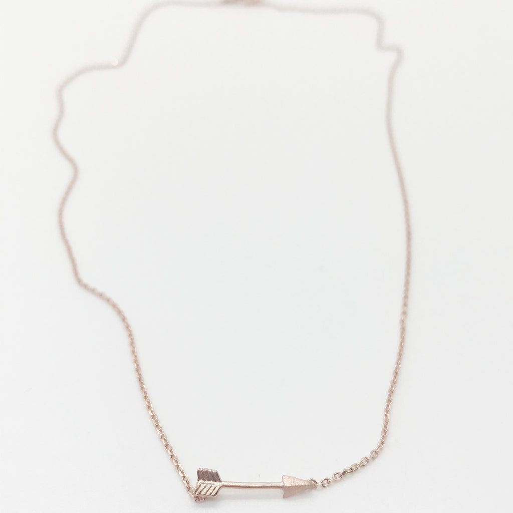 Straight Arrow Necklace- Rose Gold