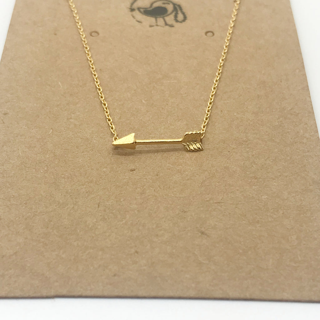 Straight Arrow Necklace- Gold