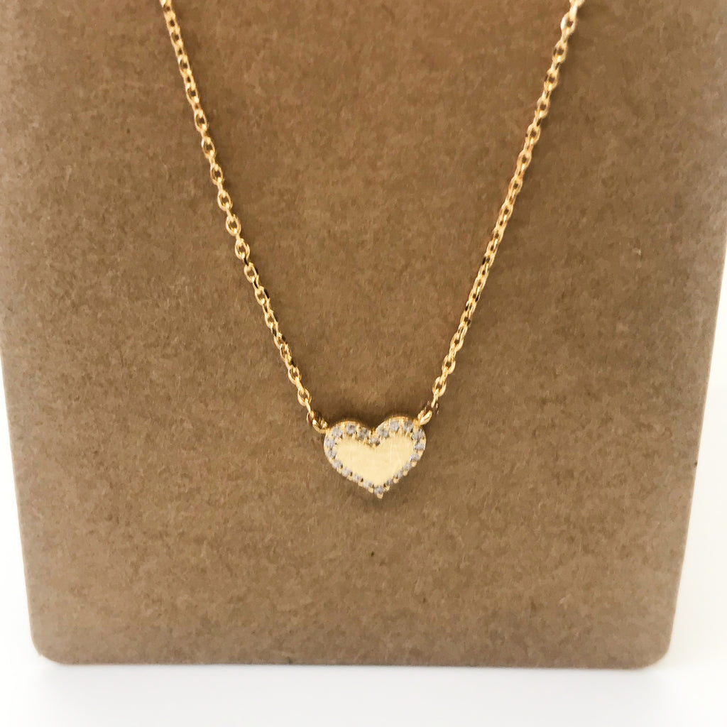 Bling Heart Necklace-Gold