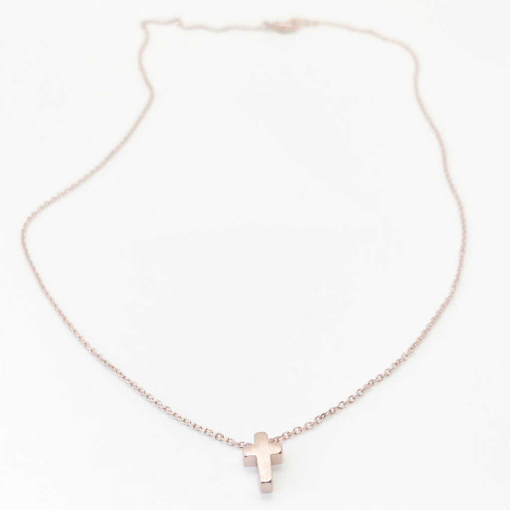 Cross Necklace- Rose Gold