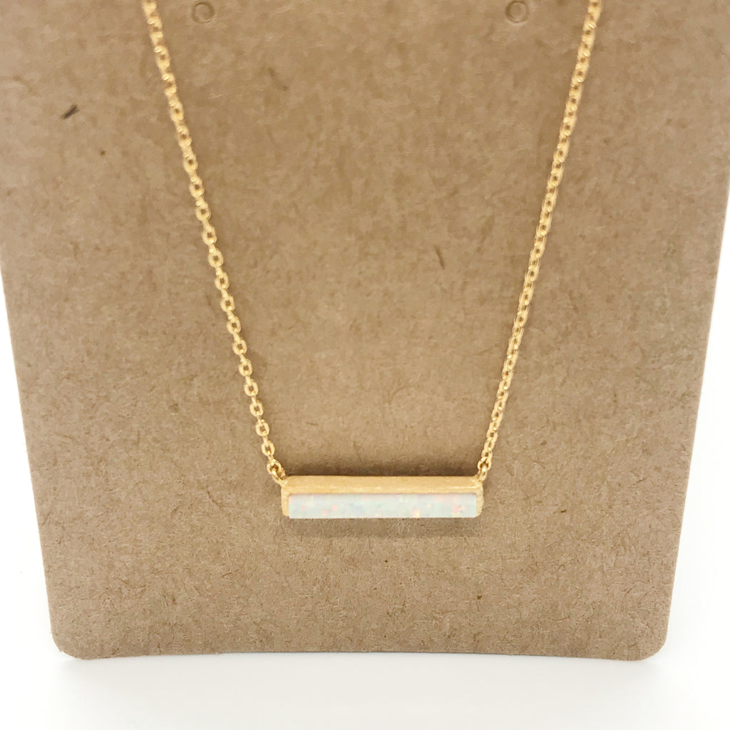Opal Bar Necklace-Gold